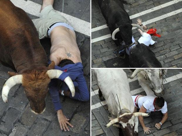 Jovens corredores são derrubados por touros no segundo dia de 'corrida' em Pamplona (Foto: AFP)