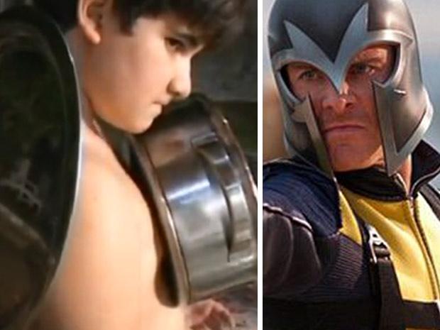 Paulo Davi Amorim (esq.) e Magneto, personagem do filme X-Men (Foto: Reprodução/TV Globo e Divulgação)