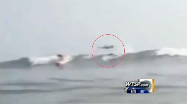 Tubarão foi flagrado saltando sobre surfista na Flórida. (Foto: Reprodução)
