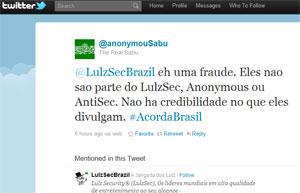 Líder do grupo hacker publicou mensagem em português acusando parte dos membros brasileiros de fraude (Foto: Reprodução)