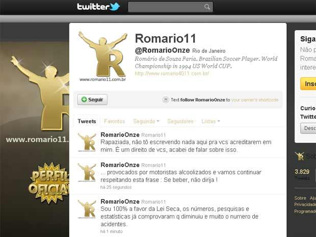 Romário no Twitter comenta Lei Seca (Foto: Reprodução da internet)