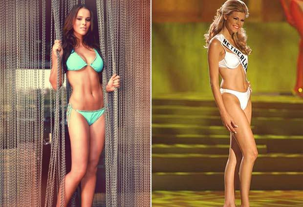 Jill Lauren de Robles (esquerda) e Kim Kötter tiveram sutiãs roubados durante o concurso. (Foto: Reprodução/site oficial)