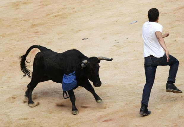 Mochila ficou preso no chifre do animal. (Foto: Joseba Etxaburu/Reuters)