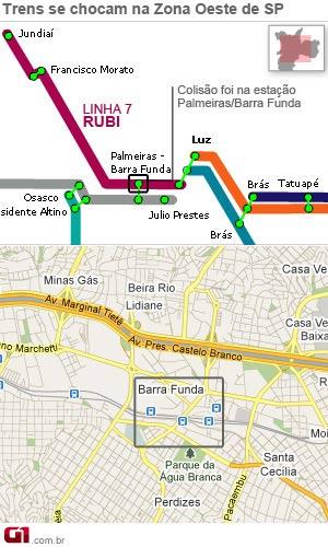 Choque de trens na Barra Funda (Foto: Editoria de Arte)
