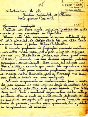 Carta escrita por estudante de São Paulo, que escolher fazer trabalho sobre Brasília, mas reclama da falta de informações sobre a cidade nas bibliotecas do estado (Foto: Reprodução)
