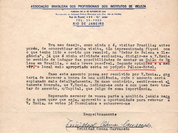 Em carta endereçada a JK, mulher pede audiência para discutir com o então presidente a instalação de um salão de beleza na capital em construção (Foto: Reprodução)