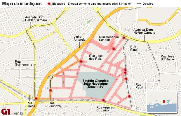 Algumas ruas do Rio serão interditadas para abertura e encerramento dos Jogos Militares (Foto: Arte/G1)