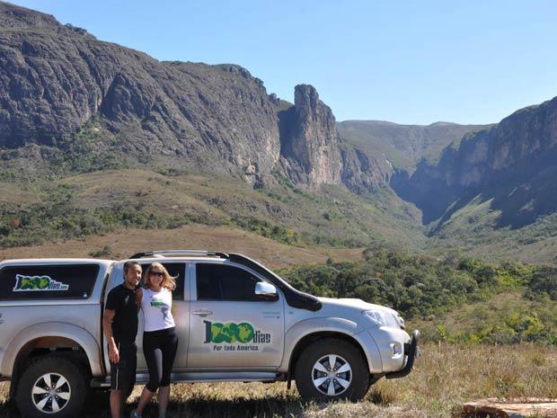 O casal na Serra do Intendente, entrada do Cânion do Peixe Tolo – MG. (Foto: Reprodução/Arquivo Pessoal)
