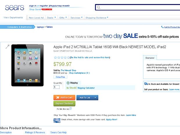 Site da sears.com já corrigiu o valor do iPad 2 que estava sendo vendido a US$ 69 (Foto: Reprodução/Sears.com)