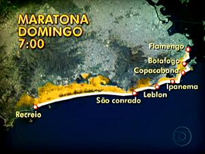 Maratona vai provocar interdições do Recreio ao Aterro do Flamengo (Foto: Reprodução / TV Globo)