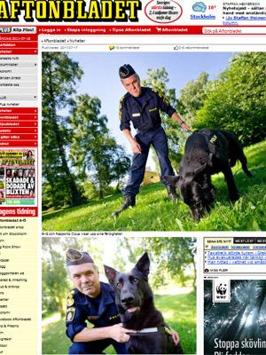 Cão farejador em fotos publicadas pela imprensa local (Foto:  Reprodução)