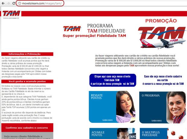 Página de phishing de milhas aéreas em nome da companhia aérea TAM (Foto: Reprodução)