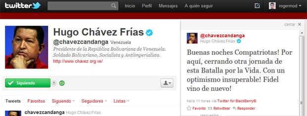 Reprodução da página do Twitter de Hugo Chávez nesta terça-feira (19) (Foto: Reprodução)