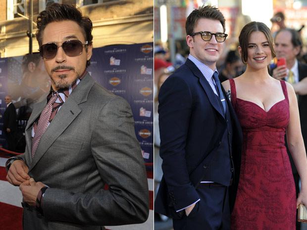 Os atores Robert Downey Jr. (esq.), Chris Evans e Hayley Atwell participam do lançamento do longa 'Capitão América', em Los Angeles, nesta terça-feira (19) (Foto: AP)