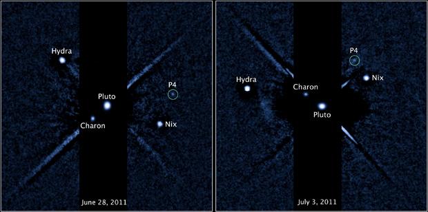 P4 é o nome provisório da nova lua descoberta em Plutão. O planeta anão aparece na imagem como Pluto, seu nome em inglês. As imagens foram feitas em 28 de junho e 3 de julho (Foto: Nasa / ESA / M. Showalter (SETI institute))