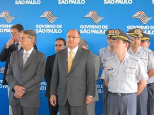 O governador Geraldo Alckmin falou sobre o estádio da Copa em evento da PM (Foto: Juliana Cardilli/G1)
