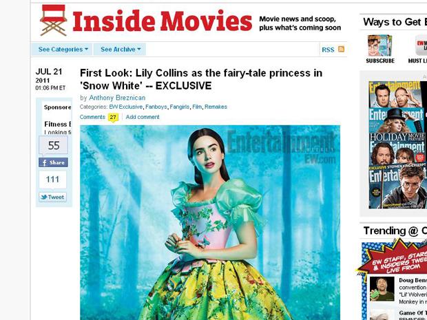 A atriz Lily Collins, filha do cantor Phil Collins, é a Branca de Neve em nova versão para a trama, que tem estreia prevista para 2012 (Foto: Reprodução)