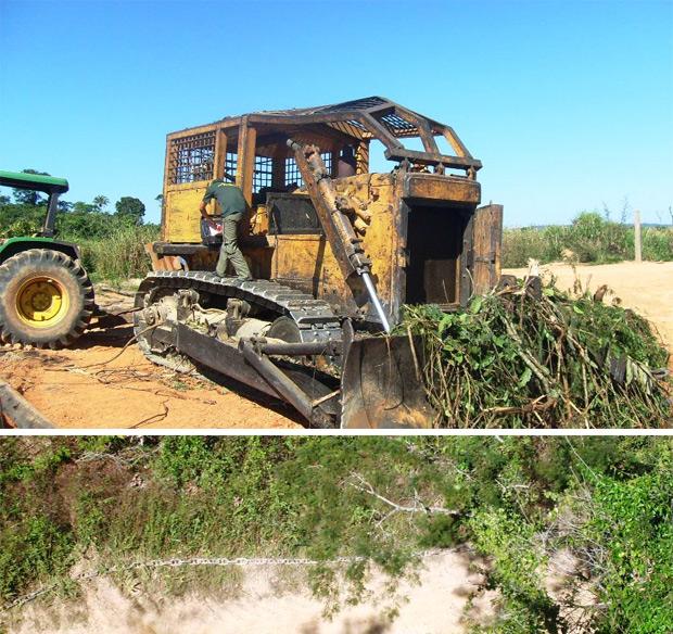 Na imagem acima, trator apreendido pelos agentes do Ibama. Abaixo, o correntão estendido no terreno, visto do alto. (Foto: Luciano Dias - Ibama / Divulgação)