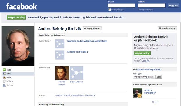 Página do perfil na página de relacionamentos Facebook de Anders Behring Breivik, norueguês acusado de ser o autor de matança em Oslo (Foto: Reprodução)