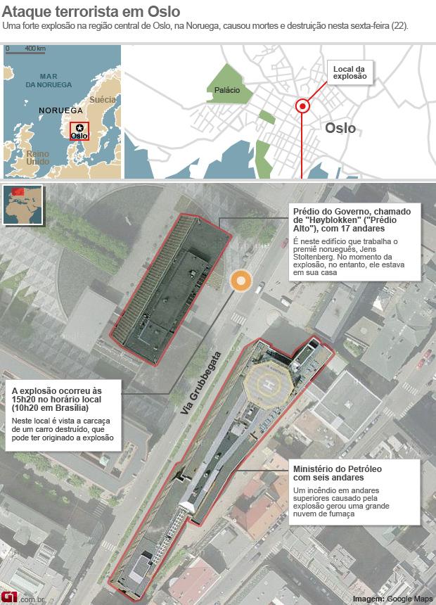 Infográfico arte atentado explosão Noruega Oslo 22.07 (17h40) (Foto: Editoria de Arte/G1)