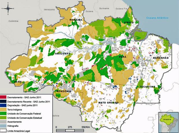 Mapa produzido pelo Imazon mostra em vermelho os pontos de desmatamento detectados pelos técnicos do instituto no mês de junho (Foto: Divulgação)