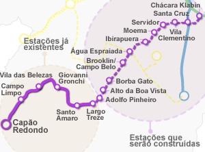 Linha Lilás (mapa correto) (Foto: Arte/G1)