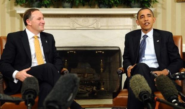 Obama fala à imprensa durante encontro com o primeiro-ministro da Nova Zelândia, John Key, nesta sexta-feira (22) (Foto: Jewel Samad / AFP)