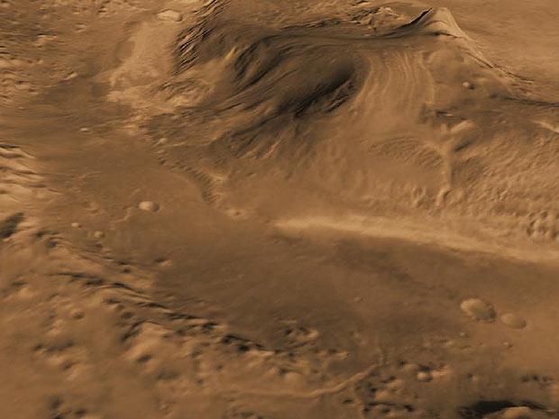 A cratera Gale, na superfície marciana (Foto: Nasa)