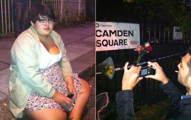 A adolescente francesa Vivian, que aprendeu a tocar baixo por causa de Amy; ao lado, fã tira foto da placa de Camden Square (Foto: Pedro Caiado/G1)
