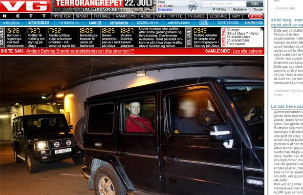 Imagem reproduzida do jornal local 'VG' mostra Anders Behring Breivik no tribunal nesta segunda-feira (25) em Oslo (Foto: Reprodução)