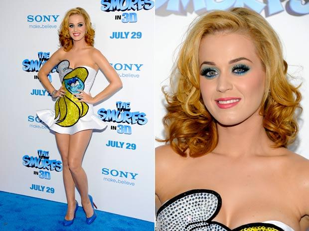 Katy Perry lança 'os smurfs' (Foto: Evan Agostini/AP)