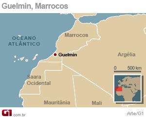 mapa acidente marrocos (Foto: Arte G1)
