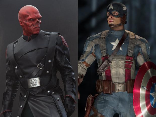 Hugo Weaving (Johann Schmidt/Caveira Vermelha) e Chris Evans (Steve Rogers/Capitão América): vilão e herói de 'Capitão América - o primeiro vingador' (Foto: Divulgação/Paramount)