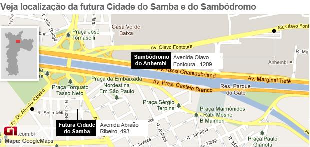 Mapa cidade do samba (Foto: Arte /G1)