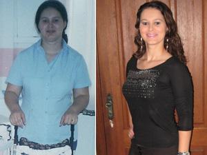 Rosângela antes e depois da perda de peso (Foto: Arquivo pessoal)