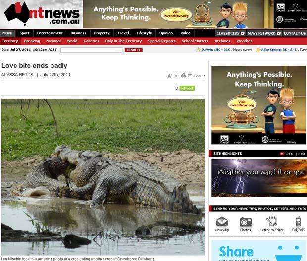 Turistas flagraram crocodilo devorando outro em parque na Austrália. (Foto: Reprodução/NT News)