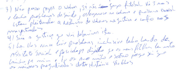 Carta do jogado foi entregue por sua mulher, Renata (Foto: Reproduo)