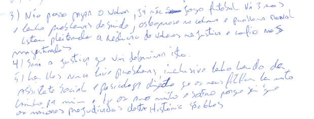 Carta do jogado foi entregue por sua mulher, Renata (Foto: Reprodução)
