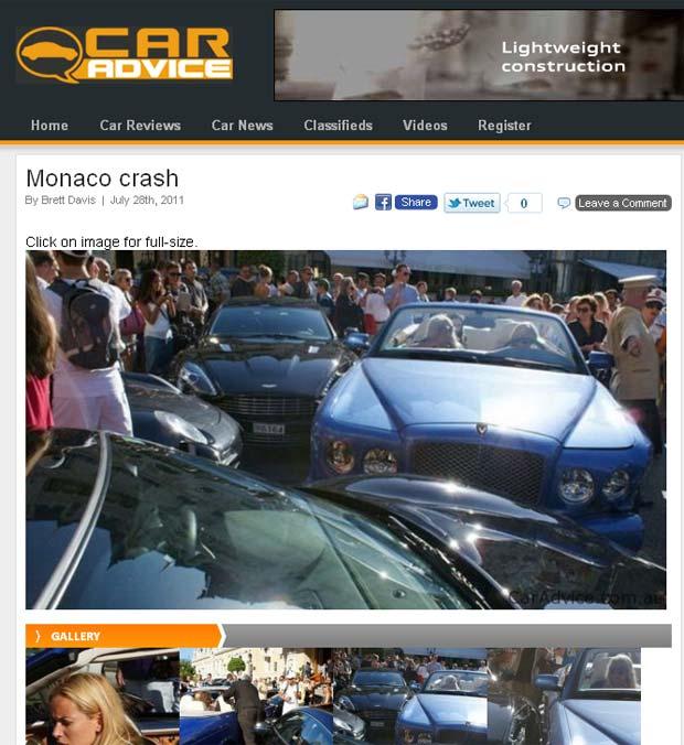 Acidente envolveu cinco veículos de luxo em Mônaco. (Foto: ReproduçãoCar Advice)