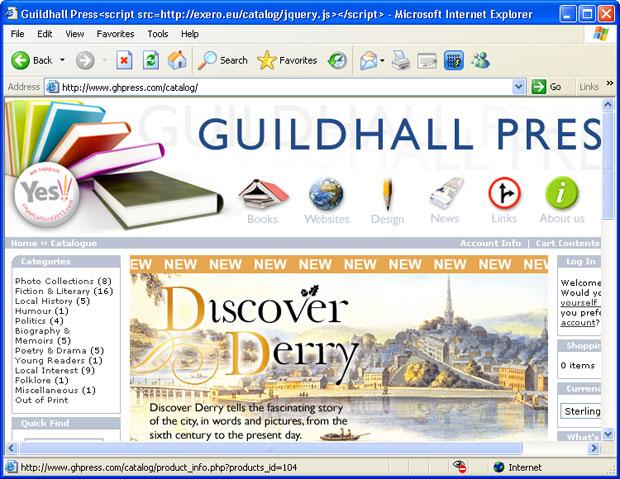 Captura de tela mostra título de página alterado para carregar site contaminado (Foto: Reprodução/Armorize)