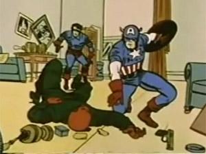 Capitão América e seu parceiro, Bucky, lutam contra o Caveira Vermelha, em cena do desenho animado de 1966 (Foto: Reprodução)