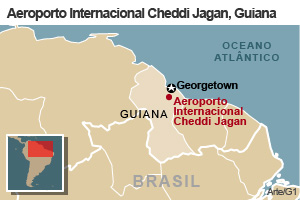 mapa acidente guiana (Foto: Arte G1)