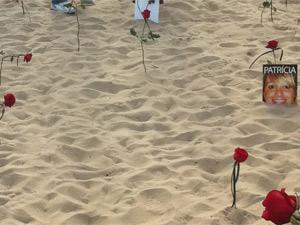 Manifestantes depositaram 3 mil rosas na areia (Foto: Divulgação/ Rio de Paz)