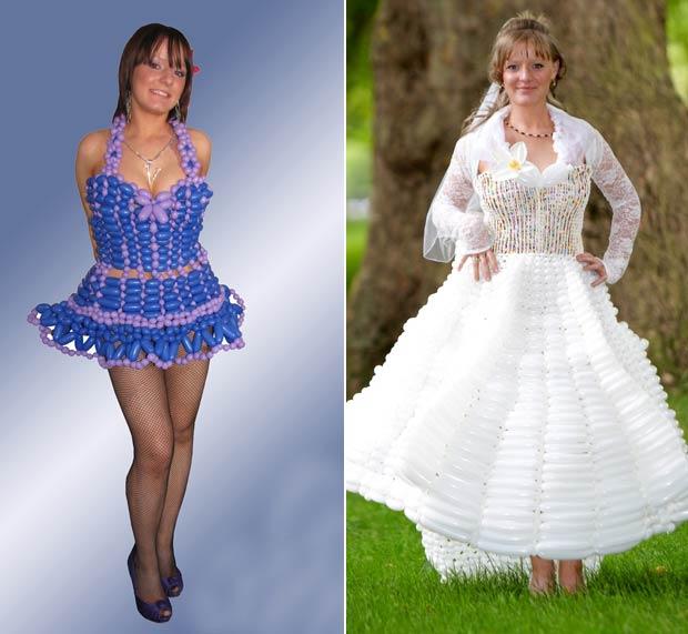 Vicky Levett exibe vestidos criados pela mãe Thelma Levett. (Foto: Worldwide Features/Barcroft Media/Getty Images)