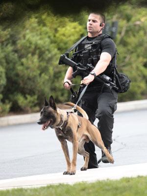 Agente do Serviço Secreto dos EUA faz patrulha da Casa Branca (Foto: AP)