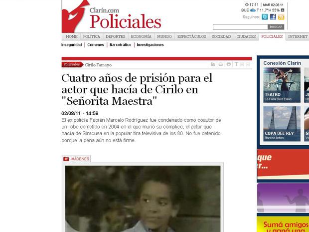 O ator Marcelo Fabián Rodríguez, que interpretou o personagem Cirilo, foi condenado por roubo (Foto: Reprodução)
