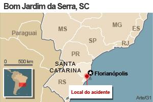 VALE - Mapa indica local de queda de avião em Santa Catarina  (Foto: Editoria de arte/G1)
