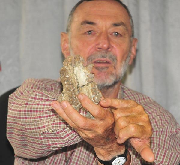 O paleontólogo Martin Pickford, do College de France de Paris, mostra crânio de um macaco de cerca de 20 milhões de anos encontrado na região de Karamoja, em Uganda (Foto: Ronald Kabuubi/AP)