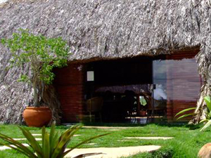 Entrada do restaurante Oca da Tribo com cobertura de palha (Foto: Divulgação)