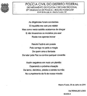 Página final do inquérito relatado em forma de poesia pelo delegado Reinaldo Lobo, do Riacho Fundo, em Brasília (Foto: Reprodução)